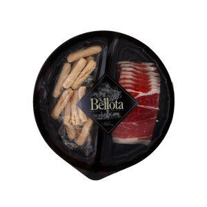 IBÉRICO BELLOTA DRY PORK SHOULDER HAM WITH BREAD STICKS SNACK PLATE